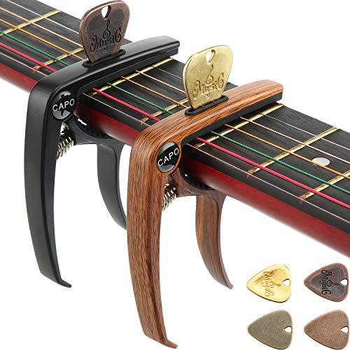 2 Stücke 3 in 1 Gitarren Capo Zink Metall Instrument Capo mit 4 Stücke Gitarre Plektren Picks für 6 Saiten Akustik und E-Gitarren Banjo Ukulele Bass Mandoline