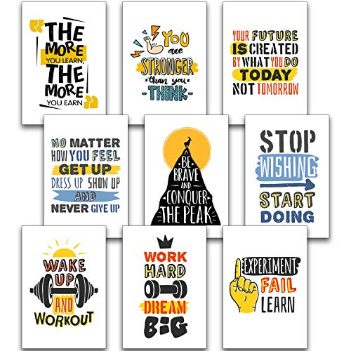 Motivational Posters for Office, Room, Home, Classroom Decorations Chalkboard 15 Set - Inspirational Quotes Wall Decor Black White Pictures 13' x 19' - Inspiring Students, Women, Men, Teachers Gifts