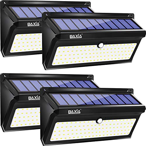 Lampe Solaire Extérieur【Innovante Version】BAXiA 2000LM Eclairage Solaire Detecteur de Mouvement avec Grand Angle Etanche IP65 Eclairage Mural pour Jardin Garage Maison Escalier Patio(100LED 4 PACK)