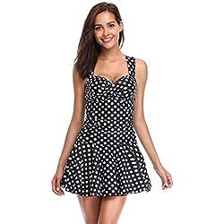 LALAVAVA Para mujer una pieza para nadar y vestir (Negro/Puntos blancos)
