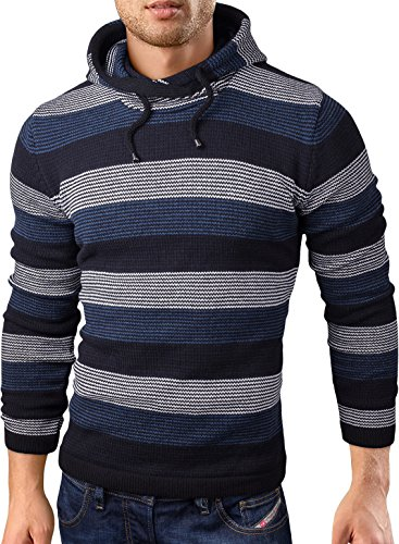 Striped V-neck Pullover (Grin&Bear slim fit Pullover Hoodie Strickjacke Herren Feinstrick, navy striped, XL, GEC347)
