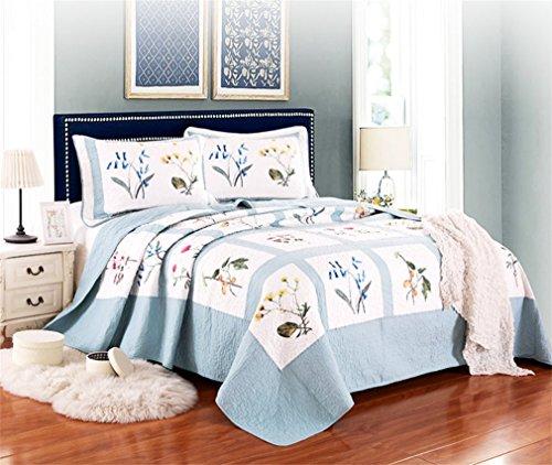 Heimtextilien Bettwäsche Luxusanzug, 100% Baumwolle Blumenmuster Handarbeit Patchwork Gesteppte Bettdecke Blatt Tröster {Large Size/Queen} -