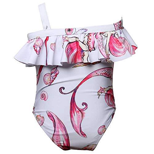 Bademode Einteilige Badebekleidung für Mädchen Schulterfrei Drucken Rüschen Tops Meerjungfrau Schwimmen Anzug Bikinis (Color : 1, Size : 5-6T)