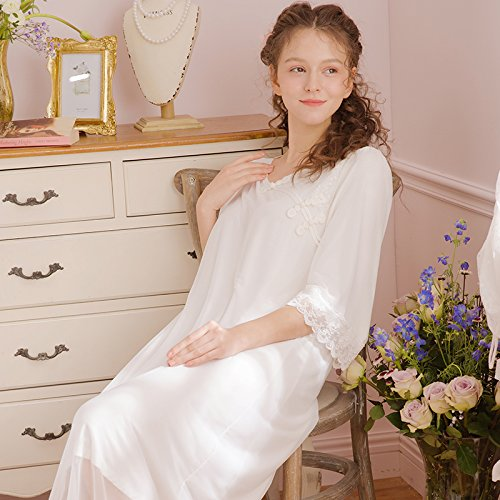 JINSHENG chinesische Wind Pyjama weibliche Sommer v - Kragen Lange ärmel im frühjahr und Herbst Gericht Prinzessin kurzärmeliges Langen Rock größe Schwangere Pyjama,160 (m),weiße