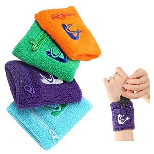 tidystore 4 STÜCKE Schweißband mit Tasche und Reißverschluss Baumwolle Armband Knöchel Brieftasche Stretch Handgelenk Tasche für Laufen Wandern Basketball Tennis Wandern