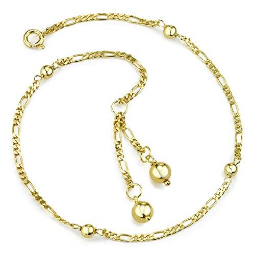 Rhomberg Figaro-Fusskettchen AM-Doublé 24-26 cm, Beschichtung: Vergoldet, Durchmesser Kugel: 6 mm, Kettenart: Figaro, Länge: 24-26 cm, Materialstärke: 2 mm, Verschluss: Federring