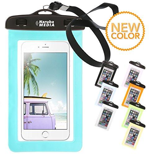 Naruba Media Waterproof | wasserdichte Handyhülle für alle Smartphones bis zu 6 Zoll |19,5 x 11,5 x 1,2 cm| inklusive Gurt und Schnellverschluss |Türkis (Ipod Mobile Touch)