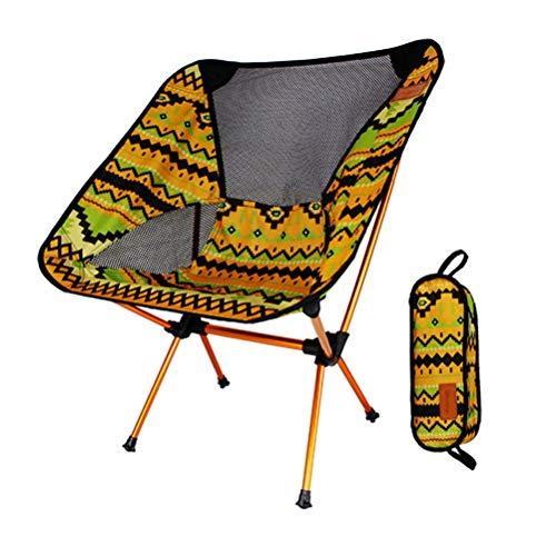 G-YL Fischenstuhl Folding Portable Camping Outdoor Leichte Stuhl Aluminiumlegierung Ultraleicht Lässig Liegenden Bunten Mond Stuhl -/1276 (Color : A)