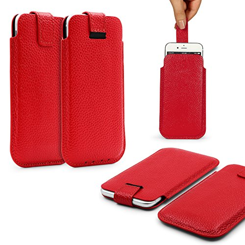 Urcover® Universal Schutzhülle in Rot Pull Tab 5,5 Zoll Schale Etui Cover Case Smartphone Zubehör Rot
