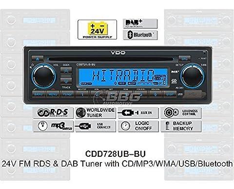 24 Volt Bluetooth & DAB Radio LKW, RDS & DAB Tuner, CD, MP3, WMA, USB, Truck & Bus, 24V CDD728UB-BU