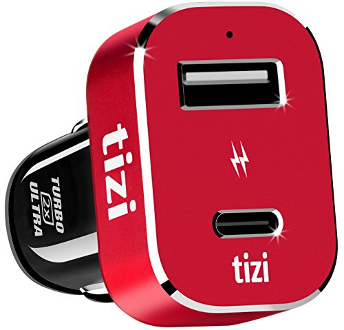 NEU equinux tizi Turbolader 2x ULTRA 42W (Monza Rot Edition), Hochleistungs-KFZ-Ladegerät mit USB-C + USB-A Port (max. 42W). 30W USB-C...