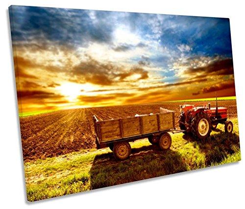 Geek-ernte (Traktor Bauern Field Ernte Single Leinwand Kunstdruck Bild, 135cm wide x 90cm high)