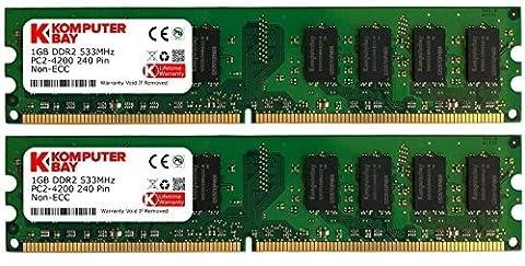 Komputerbay 2Go (2X 1Go) DDR2 533 MHz de PC2-4200 PC2-4300 Mémoire DDR2 533 240 pin DIMM bureau