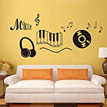 BBH.LEE Keyboard Music Musica Auricolare Adesivi Inglese Soggiorno Camera Da Letto Decorazione Può Rimuovere Gli Adesivi,Golden