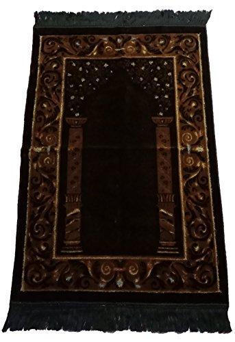 Muslim Türkisch Samt Gebet Teppich svt001Islamische sajadah Gebet Teppich musallah janamaz House Dekoration Eid Ramadan Geschenk 70 x 110 cm. Braun/Gold - Islam-teppich