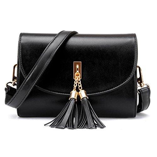 WU Zhi Dame Weiche Lederne PU-Handtaschen-Schulter-Kurier-Beutel-Handtasche Black