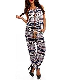 Damen Overall Jumpsuit Elefanten Muster