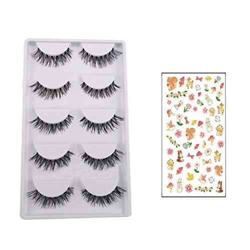Preisvergleich Produktbild Bluelans® 5 Paar Lang Kreuz Falsche künstliche Wimpern Schwarz Eyelasches Wimpernverlängerung Make-up