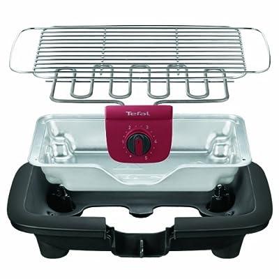 Tefal BG9018 EasyGrill mit herausnehmbaren Aluminium-Hitzereflektor, 2,200 W, schwarz/burgundrot