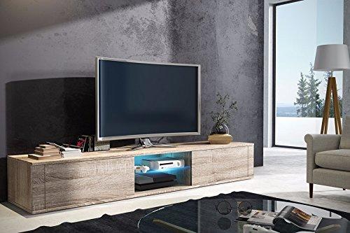 Élégant meuble TV avec support/TV sonoma mat avec LED