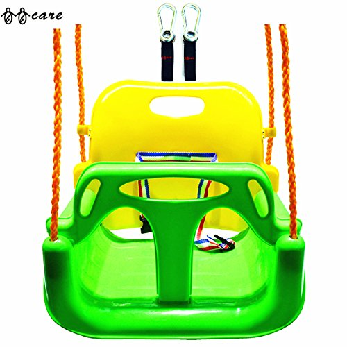 BBCare® 3-in1 Kinder und Teenager Schaukel mit Haken und Aufhänger Gürtel (Grün) (Schaukel Für Kinder)
