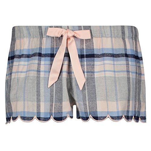 Hunkemöller Damen Shorts Twill Check 126074 Blau M (Twill-shorts)