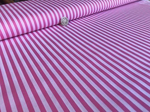 Rosa y rayas blancas – 5 mm – 100% tela de algodón para costura, parches, colchas, costura y manualidades – Ancho de 147 cm – por medio metro de aumento de longitud*