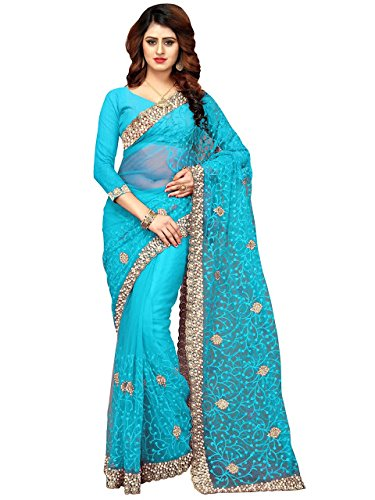 Isha Enterprise Women\'s Nylon Net Saree With Blouse Piece(KFPSN-110-A_Sky Blue)
