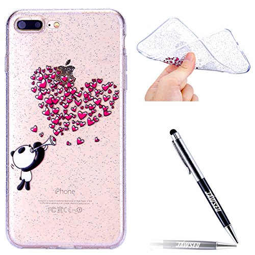 iPhone-8-Plus-Custodia-Cover-JAWSEU-Apple-iPhone-7-Plus-Cover-Transparente-Chiaro-Protettiva-Bumper-Disegni-Creativo-Bella-Glitter-Bling-Super-Sottile-Case-Custodia-Cover-per-iPhone-8-Plus-7-Plus-Prot