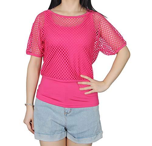 Smile Fish Frauen Tops Beil?ufiges Neonfarbe T-Shirt Damen Netzoberteil Sommertop Fasching Karneval Partytop(Neon Pink-XL)