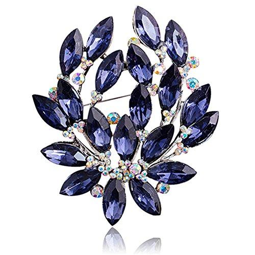 Nuohuilekeji donna vetro zaffiro blu fiore spilla zircone lega festa di nozze gioielli