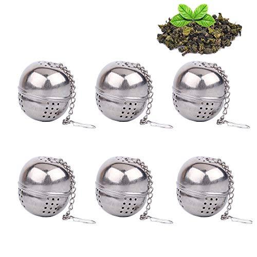 Infusore da Tè, Acciaio INOX colino da tè a sfera, palla piccola Tea filtro, filtro per tè, spezie, LOOSE Leaf strainer - Catena stile (confezione da 6) Silver