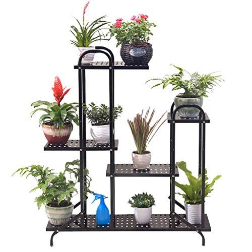 FZN Multi-Tier Noir en Fer forgé Fleur Stand, Stand de Support de Plancher de Style européen Herbe d'intérieur bonsaï étagère Jardin Patio Permanent Affichage étagère de décoration Pots de Fleurs