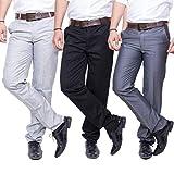 Mark Pollo Mens Slim Fit Trousers Combo(Black Dark Grey)