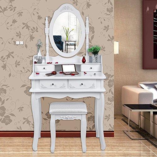 sale songmics schminktisch 4 schubladen mit spiegel hocker inkl 2 stck unterteiler. Black Bedroom Furniture Sets. Home Design Ideas