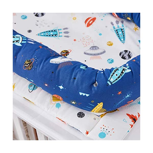 TEALP Multifunctional Baby Nest Navy Blue Galaxy Outer Space, Baby Bassinet for Bed/Lounger/Nest/Pod/Cot Bed/Sleeping, Breathable & Hypoallergenic Cotton (0-24 Months) TEALP 【Breathable and Hypoallergenic Cotton】hypoallergenic materials, breathable and non-toxic. We use 100-percent cotton fabric and breathable, hypoallergenic internal filler, which is safe for baby's sensitive skin. It will give your child serene, safe, and sound sleep in their lovely co sleeping crib. 【Adjustable Design】1 baby nest, 90x55x15cm;1 pillow30x30cm, Suitable for 0-24 Month. GROWS WITH YOUR BABY. Being adjustable, the side sleeper grows with your baby. Simply loosen the cord at the end of the bumpers to make the size larger. The ends of the bumpers can be fully opened. 【Multifunctional and Portable】 Use the infant nest as a bassinet for a bed, baby lounger pillow, travel bed, newborn pillow, changing station or move it around the house for lounging or tummy time, making baby feel more secure and cozy. 6