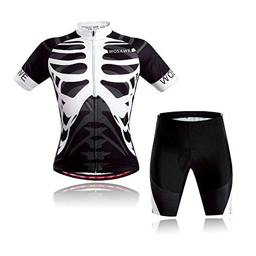 WOSAWE Herren Radtrikot Set Atmungsaktiv Quick-Dry Kurzarm Radsport-Shirt + 3D Gel Gepolsterte Shorts (Skelett M)