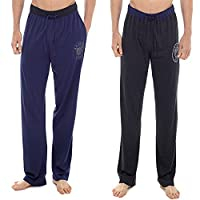 2 Pack Mens Plain Pyjama Lounge Bottoms Pants With Lounge Socks (Medium, Varsity Blue & Charcoal)