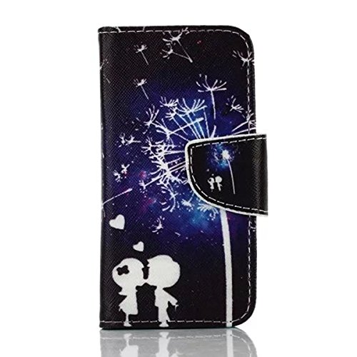 iPhone 5S Coque, iPhone SE Coque, Lifeturt [ Purple Butterfly ] [Credit Card Slot Series] Housse Etui en cuir Avec Wallet Ultra Slim [Flip Housse étui Wallet Case Cover] pour Apple iPhone SE / iPhone  E02-Couple Dandelion23