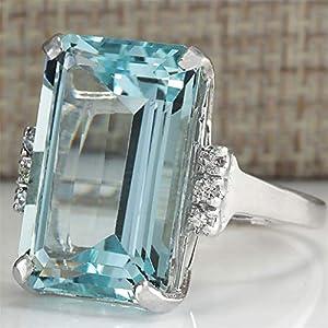 Nyaole vintage donne 925acquamarina argento anello gemma matrimonio fidanzamento promessa gioielli 9 Light blue