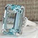 NYAOLE Vintage Damen 925 Silber Aquamarin Edelstein Ring Hochzeit Verlobung Versprechen Schmuck 9...