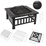FEMOR 3 in 1 Multi-function BBQ with Grill / Fire Pit / Ice Pit Outdoor Patio Garden Metal Brazier Square Table Heater Stove with Waterproof Cover (Fire Pit & Grill)