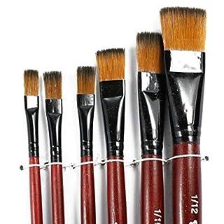 NaiCasy 6 Pièces Brosse en Nylon Peinture Acrylique Dessin Peinture Stylo Pinceau Aquarelle fixée pour Artistes étudiants Fournitures Scolaires, Les Outils et Le Mur de Traitement