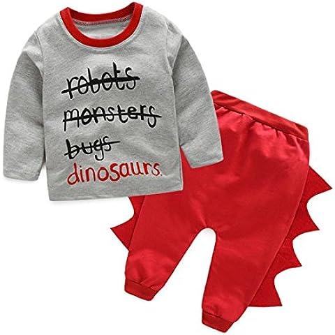 para la ropa de los muchachos,RETUROM estilo fresco 1 infantil de la letra de los niños Niños camisetas estampadas Tops + dinosaurio Pantalones Conjuntos de ropa