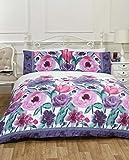 Isabella Aquarell Floral Bettwäsche-Set, Pflaume (Violett) (Doppelt 200cm x 200cm)
