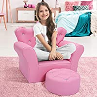 CASART Kids Sofa Set PU Leather Children Armchair Chair W/Free Footstool Seat Diamond Crown Pink