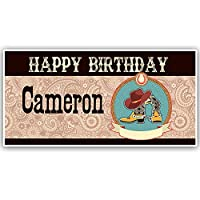 Cowboy Boots Birthday Personalized Banner Easy to Apply and Removed