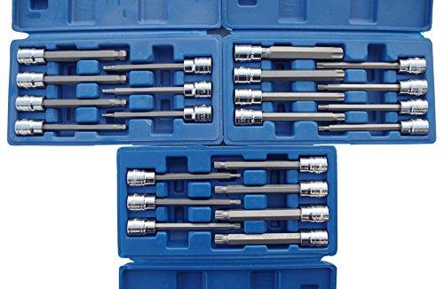 "XXL Steckschlüssel-Satz 3/8\"" Lang 110 mm Innen-Vielzahn-T-Profil-Sechskant XZN"