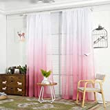 Cortina de tul para dormitorio, diseño moderno, color degradado , Gasa, Rosa, talla única