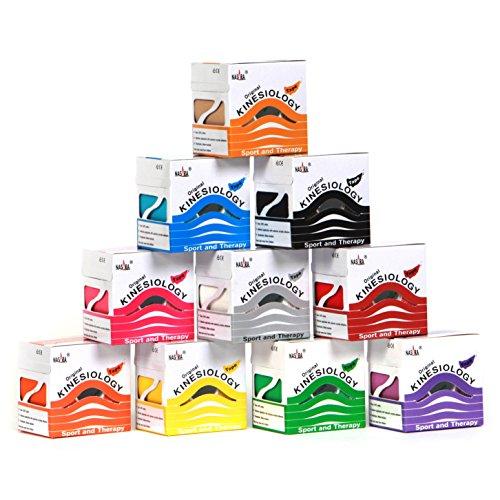 12er NASARA Kinesiologie Tape 10 Farben + 1x pink und 1x blau